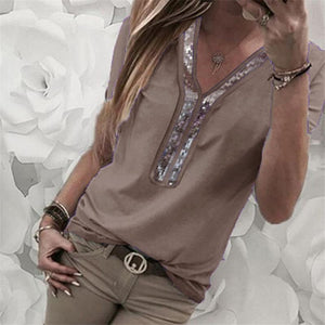 Solid Color Stitching V-Neck Women's Sequins Short-Sleeved T-Shirt