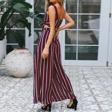 Load image into Gallery viewer, Sexy Strap Top Loose Pants Stripe Set
