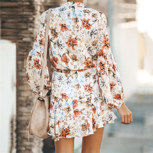 2019 Summer Floral Printed Belted Vacation Dress