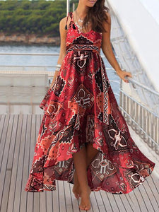 Asymmetrical Hem Strap Print Dress