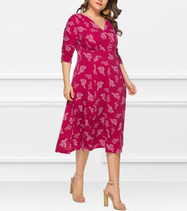 V-Neck Cropped Sleeves Plant Print Dress