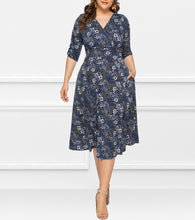 Load image into Gallery viewer, V-Neck Cropped Sleeves Plant Print Dress