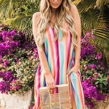 Load image into Gallery viewer, Sexy Deep V Neck Colorful Striped Loose Vacation Dress