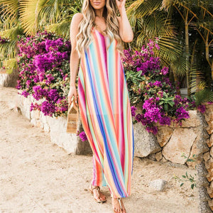Sexy Deep V Neck Colorful Striped Loose Vacation Dress