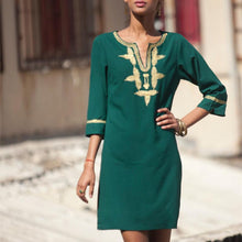 Load image into Gallery viewer, Casual V Neck Embroidery Halflong Sleeve Dresses