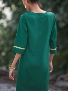 Casual V Neck Embroidery Halflong Sleeve Dresses