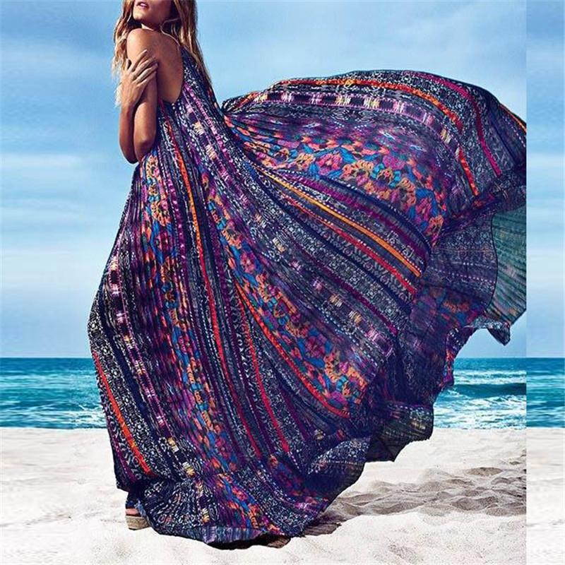 Vacation Bohemia Style Printed Big Pendulum Dress