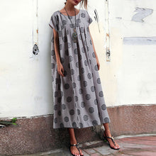 Load image into Gallery viewer, Casual Round Collar Polka Dot Printed Loose Maxi Dress