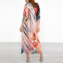 Load image into Gallery viewer, Summer V Collar Floral Printed Loose Vacation Dress