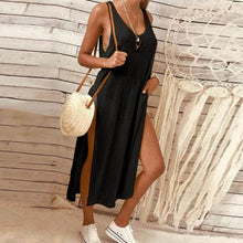 Load image into Gallery viewer, Solid Color Fashion Slit   Sleeveless Loose Dress
