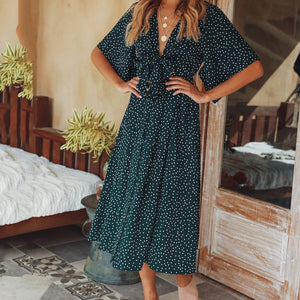 2019 Summer Deep V Collar Floral Printed Vacation Dress