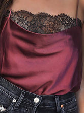 Load image into Gallery viewer, Sexy Lace Sling Sleeveless Satin Shirt