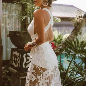 Sexy Backless Crossbanding Lace Hollow Vacation Dress