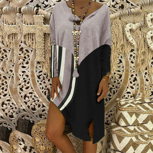 Casual V Collar Loose Printed Color Block Vacation Dress