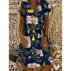 V Neck Women Dresses Shift  Floral Summer Dresses