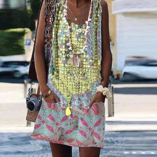 Bohemian Sleeveless Crew Print   Dress