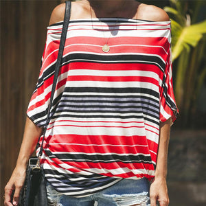 Fashion Off Shoulder Strip Printed Loose T-Shirt
