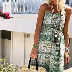 Fashion Flower Print Vacation Maxi Dress