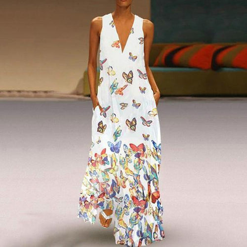 Summer Beach Bohemia Style Printed Sleeveless Maxi Dress