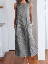 Load image into Gallery viewer, V Neck  Patch Pocket  Striped Maxi Dress