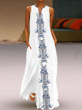 Load image into Gallery viewer, V Neck  Print Maxi Dress