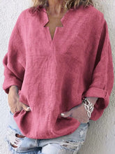 Load image into Gallery viewer, V Neck  Loose Fitting  Plain Blouses