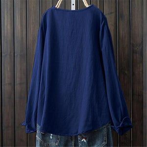 Women's Round Collar And Long Sleeves Shirt