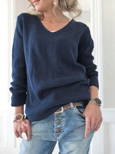 Load image into Gallery viewer, Casual Round Neck Solid Color Sweater