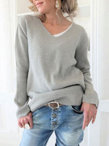 Casual Round Neck Solid Color Sweater
