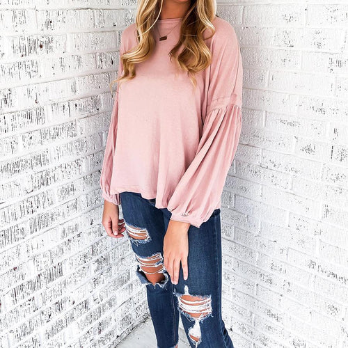 Pink Sweet Lantern Sleeve Sweater