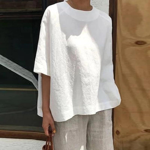 Casual Round Neck Cotton And Linen Loose Solid Color Sleeve T-Shirt