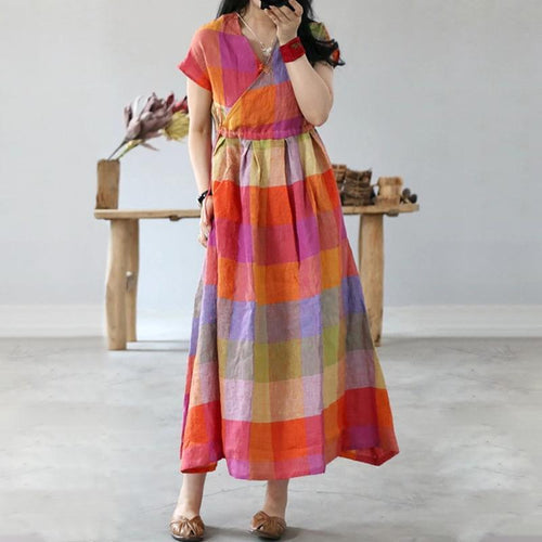 New Literary Super Loose Big Pendulum Pure Linen Colorful Long Dress