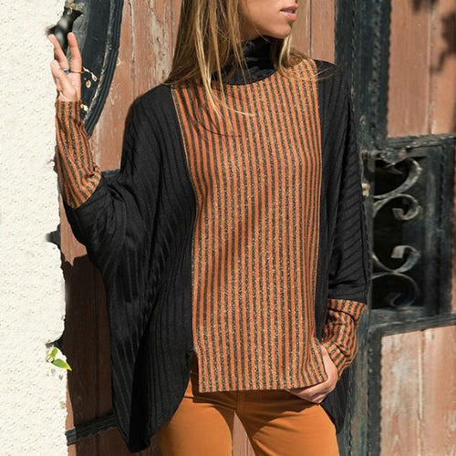 Fashion High Collar Bat Sleeve Sweater