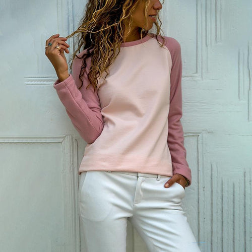 Casual And Comfortable Pink Raglan Sleeve Sweater