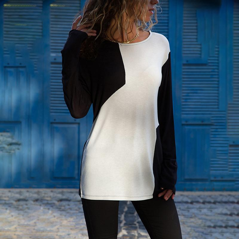 Casual Comfort Black And White Colorblock T-Shirt