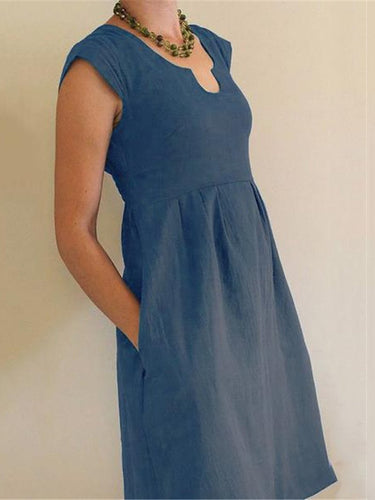 Casual Cotton And Linen U-Neck High Waist A-Line Dress