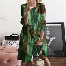 Load image into Gallery viewer, Casual V Neck Bracelet Sleeve Loose Printed Dress