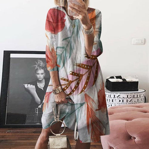 Casual V Neck Bracelet Sleeve Loose Printed Dress