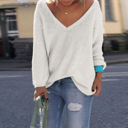 Casual Solid Color Long Sleeve Sweater