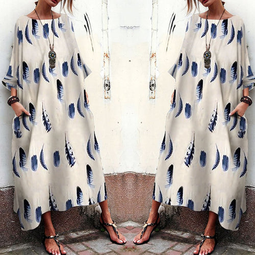 Women Feather Printed Bell Sleeve Maxi Dress