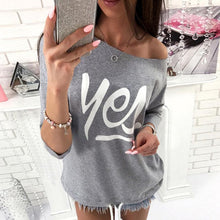 Load image into Gallery viewer, One Shoulder  Letters Plain  Batwing Sleeve T-Shirts
