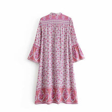 Load image into Gallery viewer, Bohemia Style V Collar Hollow Loose Vacation Dress