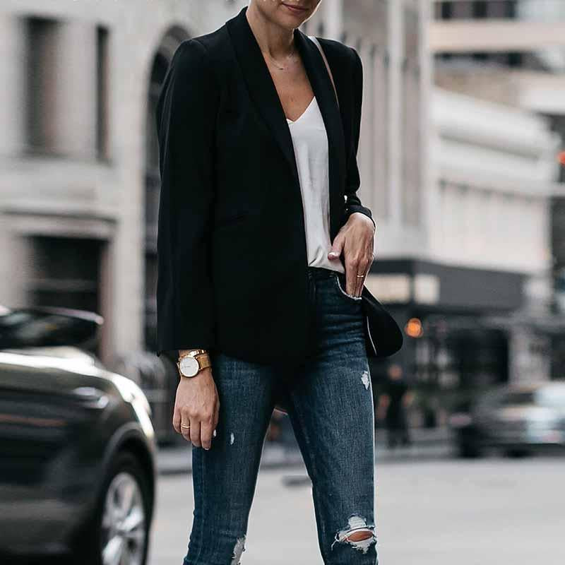 Fashion Lapel Plain Casual Blazer