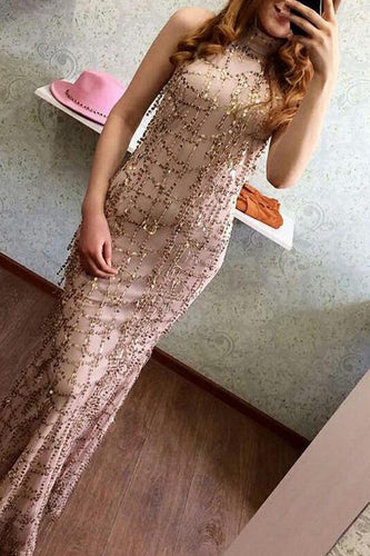 Halter Straps Sexy Sequins Tassel Evening Dress
