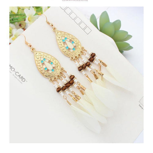 Gosfashion Fashion Fringed Feather Earrings Long Accessories Handmade Earrings