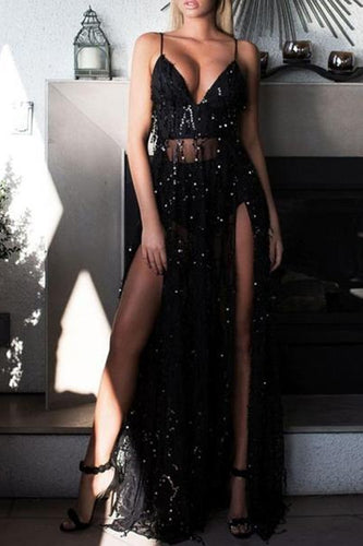 Sexy Halter Black Sling Sequins Mopping Dress Split Evening Dress