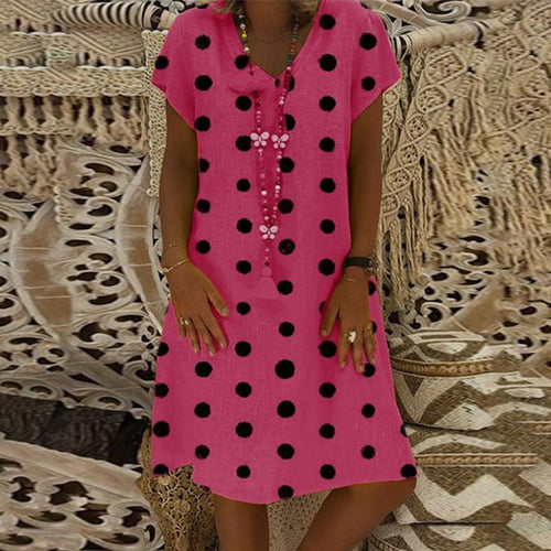 Round Neck Polka Dots Printed Short Sleeve Casual Dresses