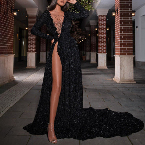 Side slit V-neck fishtail party evening dress