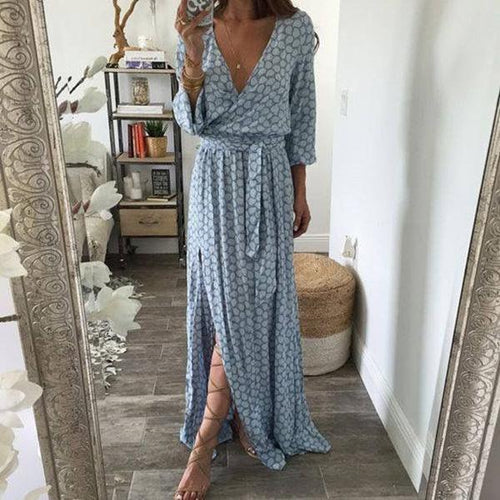 Bohemian Women Printed Dark V-Neck Side Split Maxi Dress
