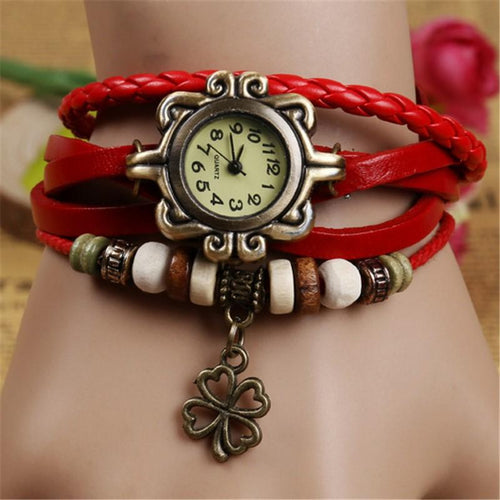 Fashion Vintage Cowhide Faux Leather Bracelet  Watches